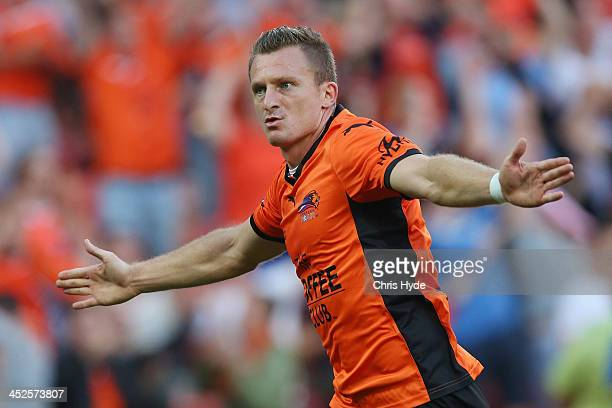 Besart Berisha of the Roar celebrates after scoring a goal during the round eight ALeague match between Brisbane Roar and Perth Glory at Suncorp...