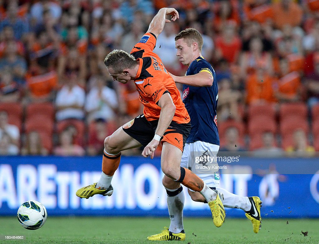 <a gi-track='captionPersonalityLinkClicked' href=/galleries/search?phrase=Besart+Berisha&family=editorial&specificpeople=737057 ng-click='$event.stopPropagation()'>Besart Berisha</a> of the Roar in action during the round 19 A-League match between the Brisbane Roar and the Central Coast Mariners at Suncorp Stadium on February 1, 2013 in Brisbane, Australia.