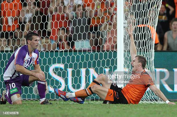 Besart Berisha of the Roar is awarded a penalty shot at goal after being brought down by Liam Miller of the Glory during the 2012 ALeague Grand Final...