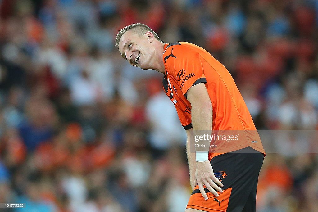 Besart Berisha of the Roar smiles after scoring a goal during the round 27 A-League match between the Brisbane Roar and Sydney FC at Suncorp Stadium on March 28, 2013 in Brisbane, Australia.