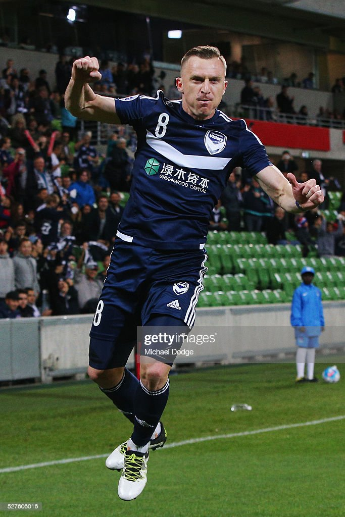 <a gi-track='captionPersonalityLinkClicked' href=/galleries/search?phrase=Besart+Berisha&family=editorial&specificpeople=737057 ng-click='$event.stopPropagation()'>Besart Berisha</a> of the Victory celebrares kicking a penalty goal during the AFC Champions League match between Melbourne Victory and Gamba Osaka at AAMI Park on May 3, 2016 in Melbourne, Australia.