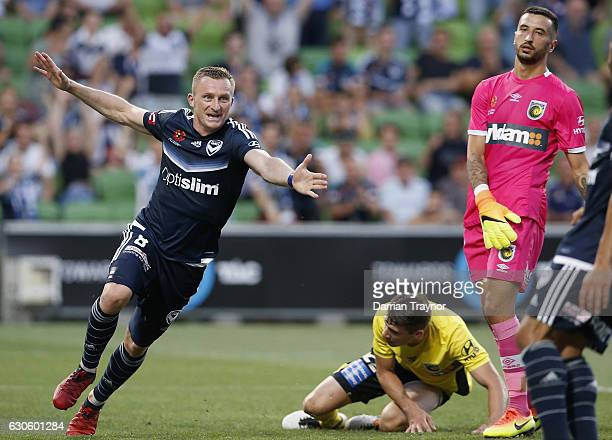 Besart Berisha of the Victory celebrates a goal during the round 12 ALeague match between Melbourne Victory and Central Coast Mariners at AAMI Park...
