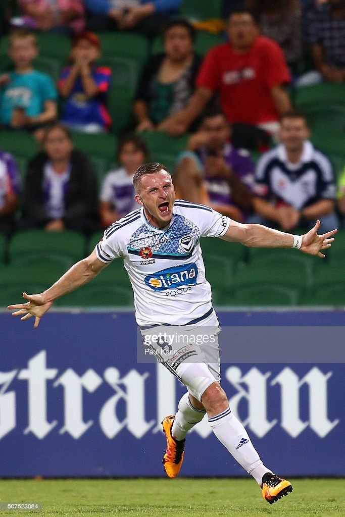 Besart Berisha of the Victory celebrates a goal during the round 17 A-League match between Perth Glory and Melbourne Victory at nib Stadium on January 30, 2016 in Perth, Australia.