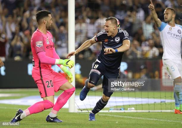 Besart Berisha of the Victory celebrates a goal during the round 18 ALeague match between Melbourne Victory and Melbourne City FC at Etihad Stadium...