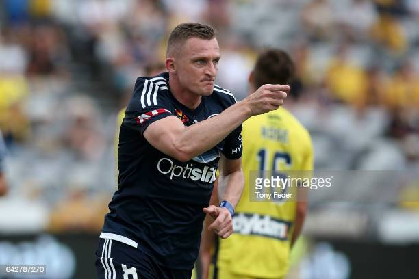 Besart Berisha of the Victory celebrates a goal during the round 22 ALeague match between the Central Coast Mariners and Melbourne Victory at Central...