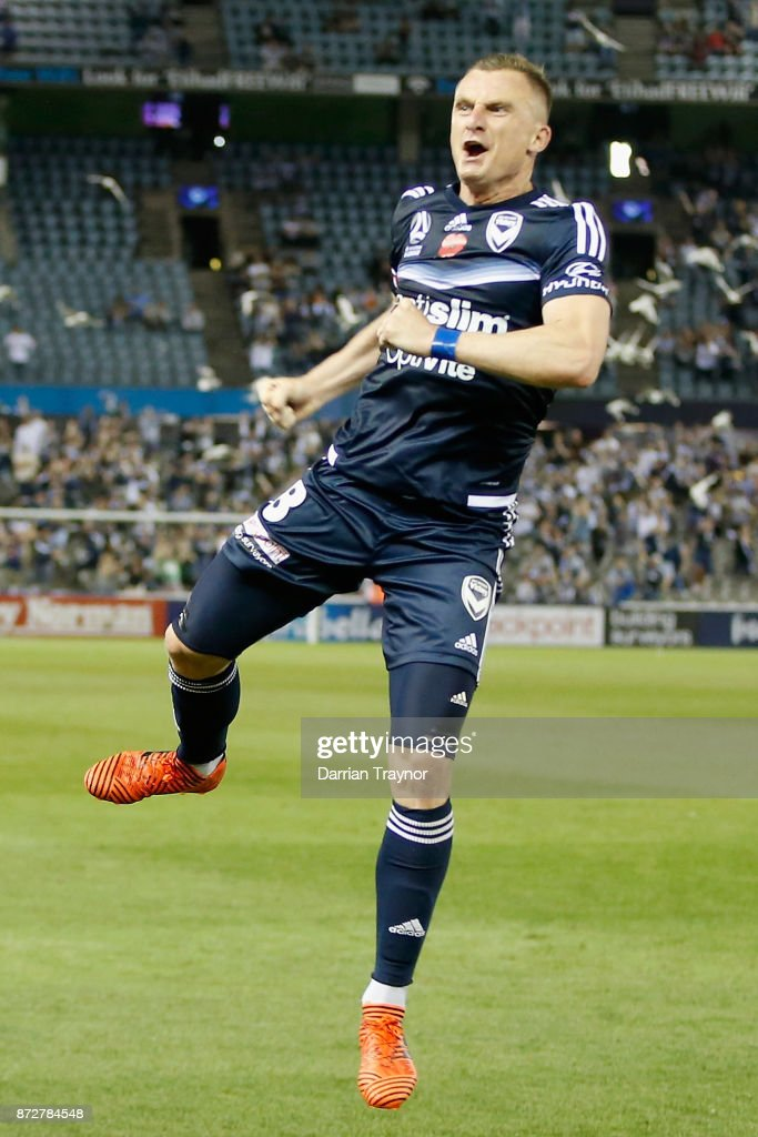 Besart Berisha of the Victory celebrates a goal during the round six A-League match between the Melbourne Victory and Brisbane Roar at Etihad Stadium on November 11, 2017 in Melbourne, Australia.