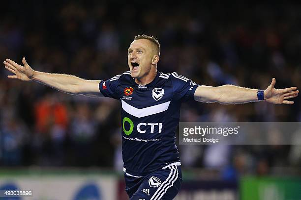 Besart Berisha of the Victory celebrates a goal during the round two ALeague match between Melbourne Victory and Melbourne City FC at Etihad Stadium...