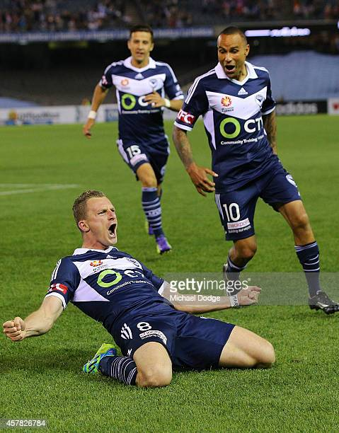 Besart Berisha of the Victory celebrates a goal with Archie Thompson during the round three ALeague match between the Melbourne Victory and Melbourne...
