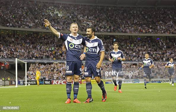 Besart Berisha of the Victory celebrates after scoring a goal during the round 16 ALeague match between Melbourne Victory and Melbourne City FC at...