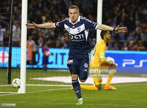 Besart Berisha of the Victory celebrates after scoring a goal during the ALeague semi final match between Melbourne Victory and Melbourne City at...