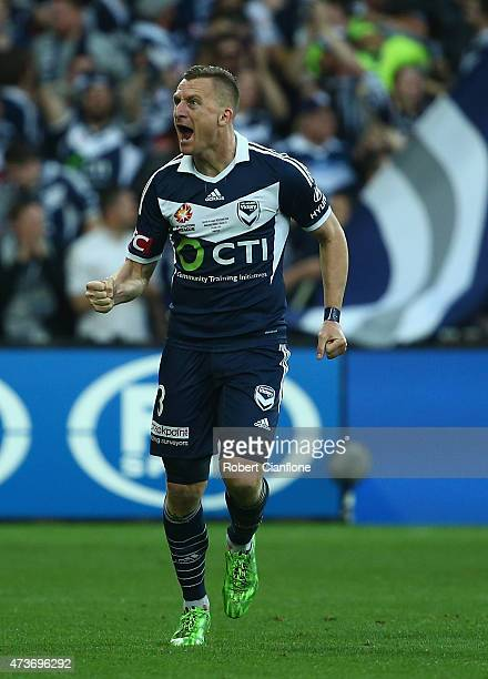 Besart Berisha of the Victory celebrates after scoring a goal during the 2015 ALeague Grand Final match between the Melbourne Victory and Sydney FC...