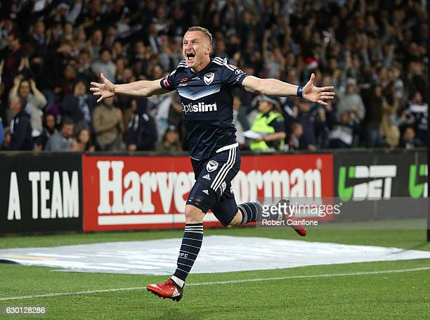 Besart Berisha of the Victory celebrates after scoring a goal during the round 11 ALeague match between Melbourne City FC and Melbourne Victory at...