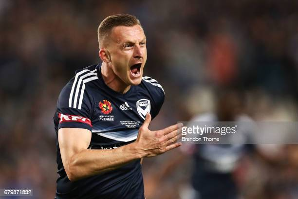 Besart Berisha of the Victory celebrates after scoring a goal during the 2017 ALeague Grand Final match between Sydney FC and the Melbourne Victory...