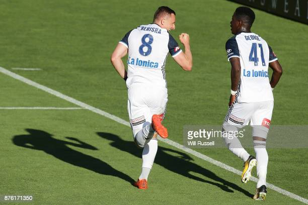 Besart Berisha of the Victory celebrates after scoring a goal during the round seven ALeague match between Perth Glory and Melbourne Victory at nib...