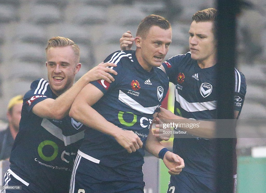 <a gi-track='captionPersonalityLinkClicked' href=/galleries/search?phrase=Besart+Berisha&family=editorial&specificpeople=737057 ng-click='$event.stopPropagation()'>Besart Berisha</a> (C) of the Victory celebrates after scoring the first goal during the round 18 A-League match between the Melbourne Victory and Western Sydney Wanderers at Etihad Stadium on February 6, 2016 in Melbourne, Australia.