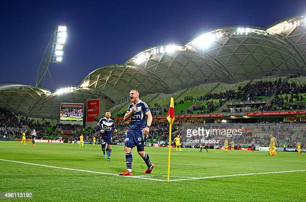 Besart Berisha of the Victory celebrates after scoring their second goal during the FFA Cup Final match between Melbourne Victory and Perth Glory at...