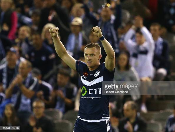 Besart Berisha of the Victory celebrates after the Victory defeated Adelaide United during the round eight ALeague match between Melbourne City FC...