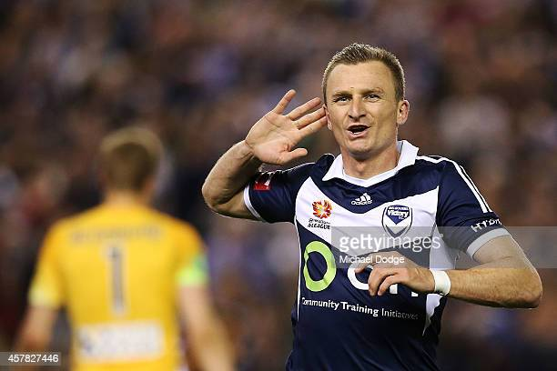 Besart Berisha of the Victory celebrates his hatrick goal during the round three ALeague match between the Melbourne Victory and Melbourne City at...