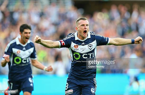 Besart Berisha of the Victory celebrates scoring a goal during the 2015 ALeague Grand Final match between the Melbourne Victory and Sydney FC at AAMI...