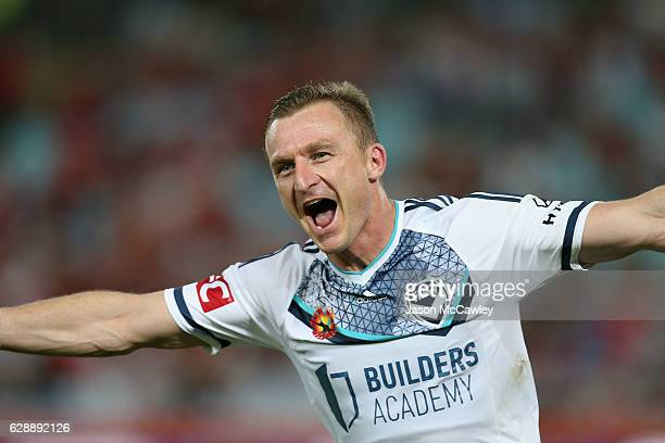 Besart Berisha of the Victory celebrates scoring a goal during the round 10 ALeague match between the Western Sydney Wanderers and the Melbourne...