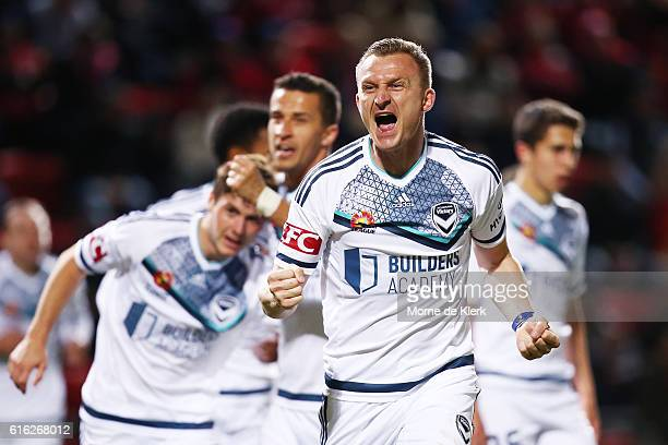 Besart Berisha of the Victory celebrates the winning goal during the round three ALeague match between Adelaide United and Melbourne Victory at...