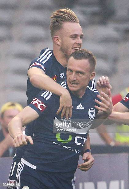 Besart Berisha of the Victory celebrates with Connor Pain after scoring the first goal during the round 18 ALeague match between the Melbourne...