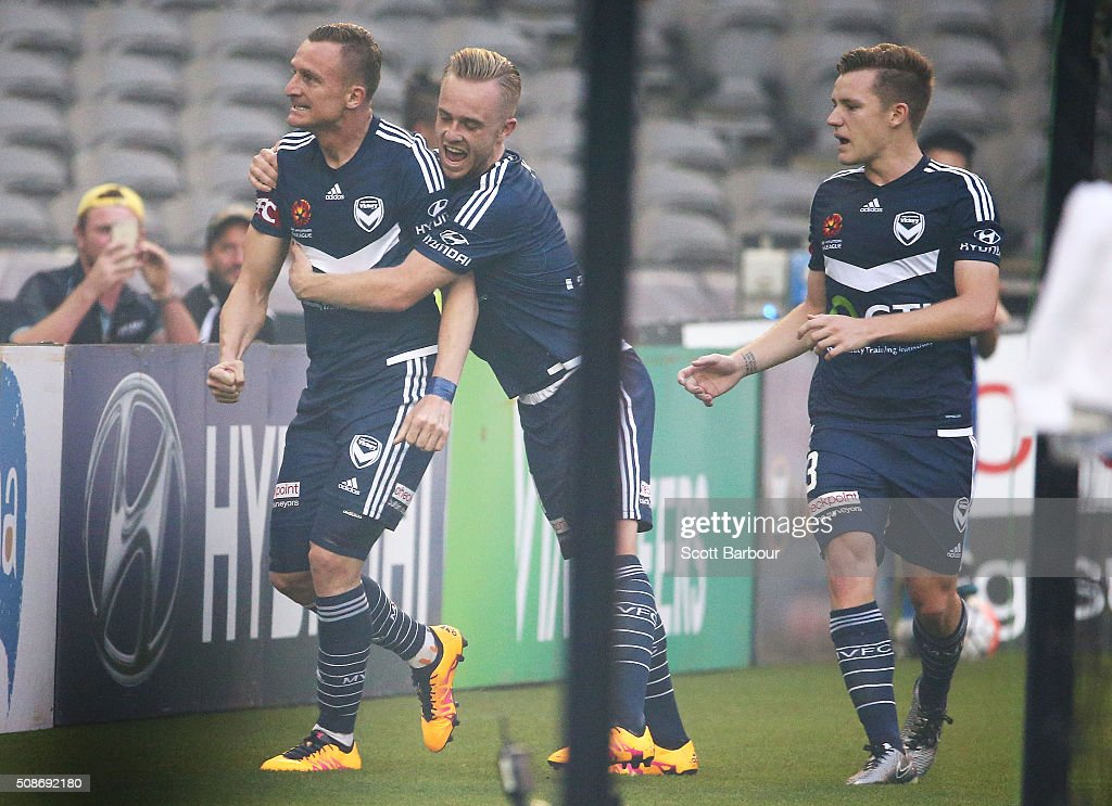 <a gi-track='captionPersonalityLinkClicked' href=/galleries/search?phrase=Besart+Berisha&family=editorial&specificpeople=737057 ng-click='$event.stopPropagation()'>Besart Berisha</a> of the Victory celebrates with Connor Pain after scoring the first goal during the round 18 A-League match between the Melbourne Victory and Western Sydney Wanderers at Etihad Stadium on February 6, 2016 in Melbourne, Australia.