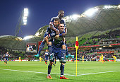 Besart Berisha of the Victory celebrates with Kosta Barbarouses and Jason Geria after scoring their second goal during the FFA Cup Final match...