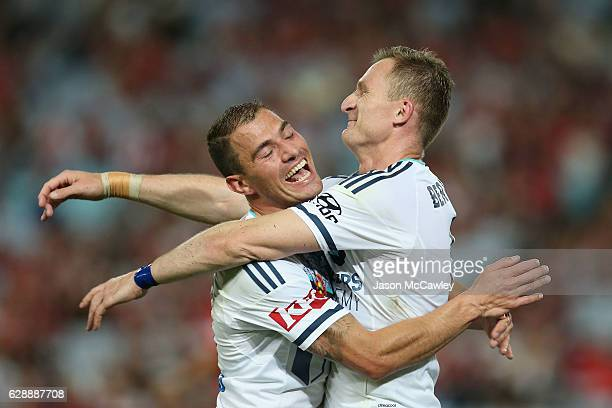 Besart Berisha of the Victory celerates with Marco Rojas after scoring a goal during the round 10 ALeague match between the Western Sydney Wanderers...