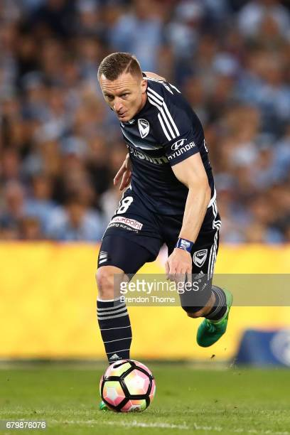 Besart Berisha of the Victory controls the ball during the 2017 ALeague Grand Final match between Sydney FC and the Melbourne Victory at Allianz...