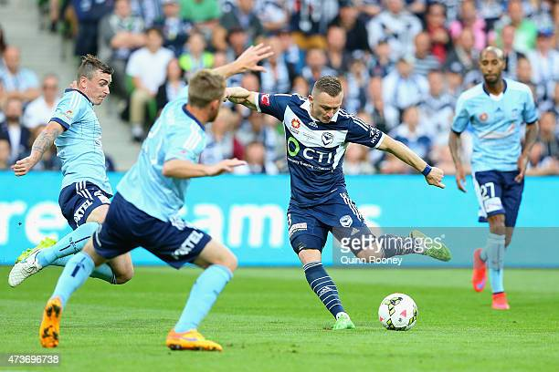 Besart Berisha of the Victory kicks a goal during the 2015 ALeague Grand Final match between the Melbourne Victory and Sydney FC at AAMI Park on May...