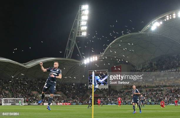 Besart Berisha of the Victory leaps in the air as he celebrates after scoring their second goal during the round 21 ALeague match between Melbourne...
