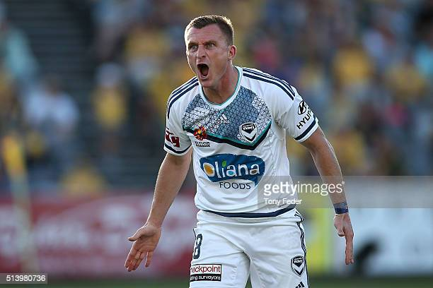 Besart Berisha of the Victory reacts to the referees decision during the round 22 ALeague match between the Central Coast Mariners and the Melbourne...