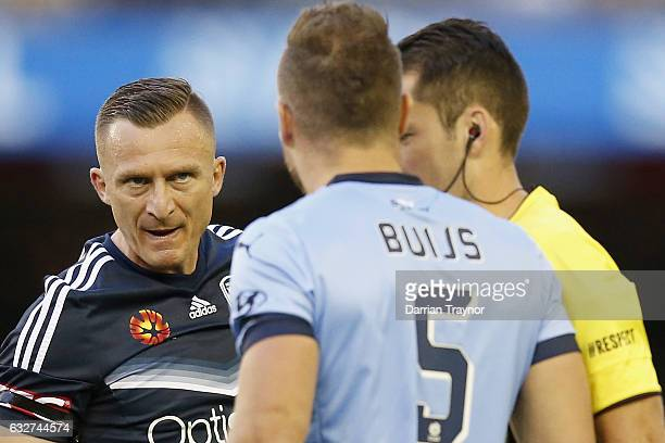 Besart Berisha of the Victory remonstrates with Jordy Buijs of Sydney FC during the round 17 ALeague match between the Melbourne Victory and Sydney...