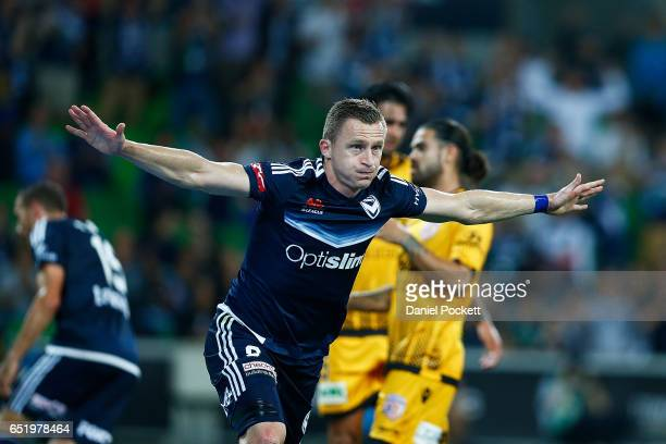 Besart Berisha of the Victory scores a goal during the round 23 ALeague match between Melbourne City FC and Perth Glory at AAMI Park on March 11 2017...