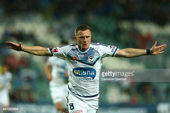 Besart Berisha of the Victory scores a goal during the round six ALeague match between Sydney FC and Melbourne Victory at Allianz Stadium on November...