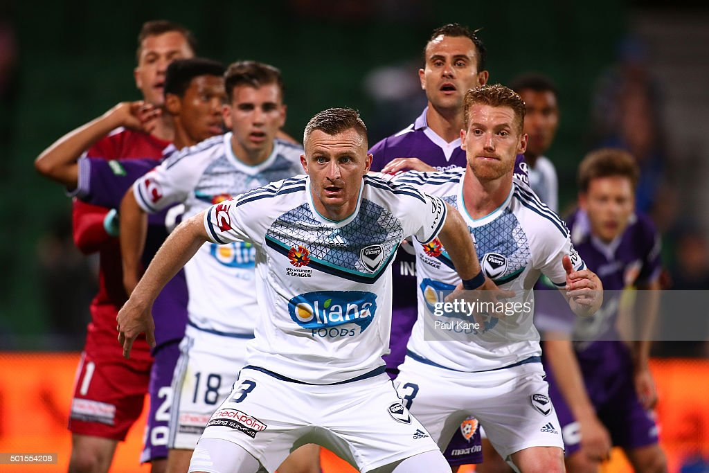 Besart Berisha of the Victory sets position for a corner kick during the round five ALeague match between the Perth Glory and Melbourne Victory at...
