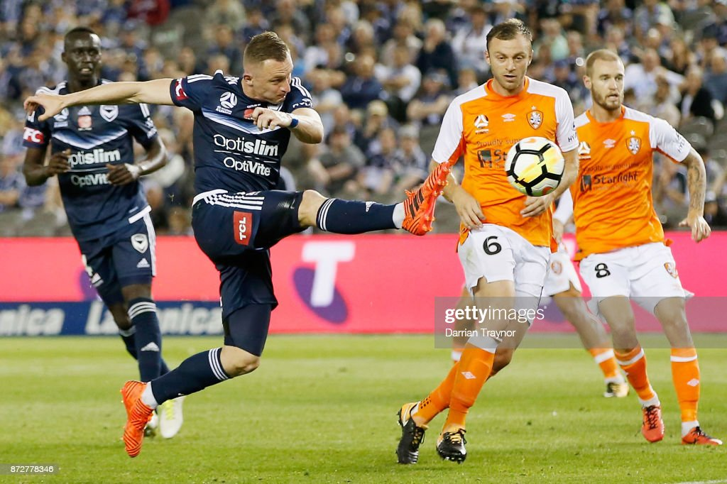 Besart Berisha of the Victory strikes the ball during the round six A-League match between the Melbourne Victory and Brisbane Roar at Etihad Stadium on November 11, 2017 in Melbourne, Australia.