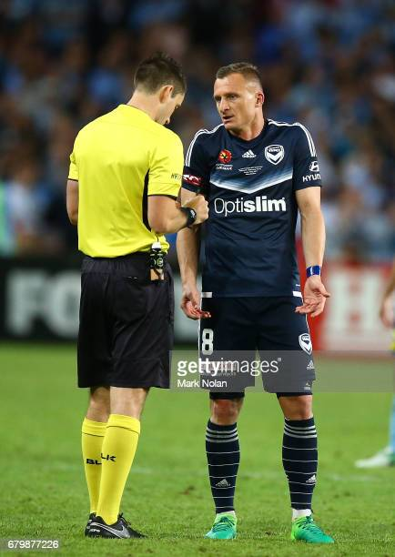 Besart Berisha of the Victory talks with the referee during the 2017 ALeague Grand Final match between Sydney FC and the Melbourne Victory at Allianz...
