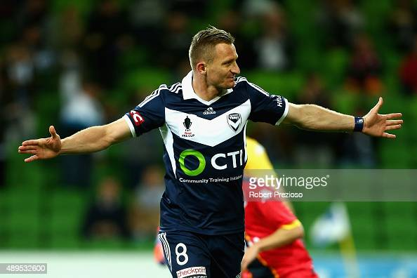 Besart Berisha of Victory celebrates after scoring a goal from a penalty kick during the FFA Cup Quarter Final match between the Melbourne Victory...