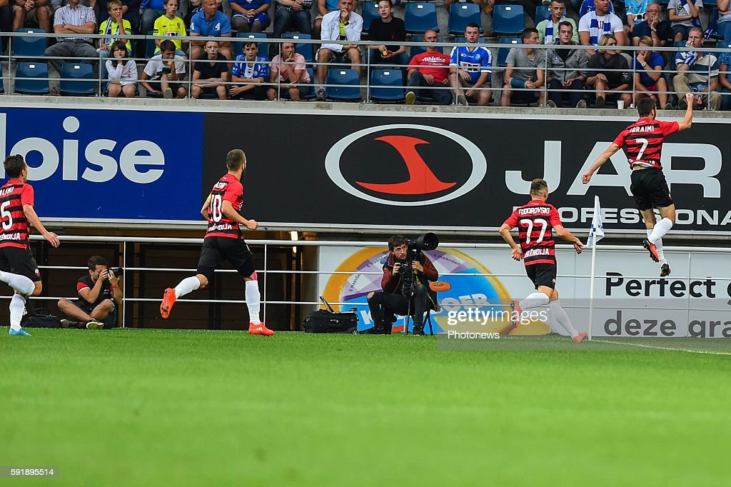 Besart Ibraimi Blagoja Todorovski are celebrating the 01 during the Uefa Europa League match between KAA Gent and KF Shkendija In the Ghelamco Arena...