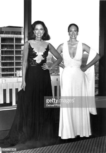 Besequinned matte jersey gowns are from 1975 left with 'illusion' net bodice $600 and summer '81 $1045 Credit Denver Post