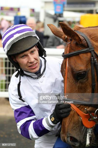 Beshabar riden by Richard Johnson winner of the The Coral Scottish Grand National Handicap Steeple Chase Race 4 at Ayr