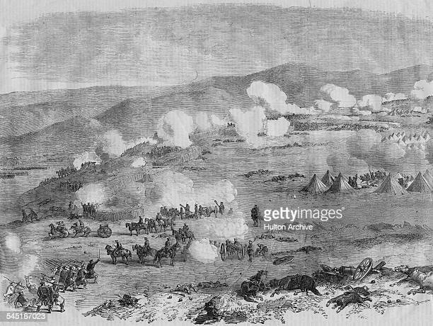 Besieging Russian forces under the command of General Nikolay Muravyov attacking Turkish troops on the heights of Kars at the Siege of Kars on 1...