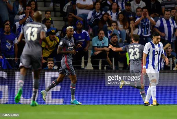 Besiktas' Brazilian midfielder Talisca celebrates after scoringduring the UEFA Champions League football match FC Porto vs Beskitas JK at the Dragao...