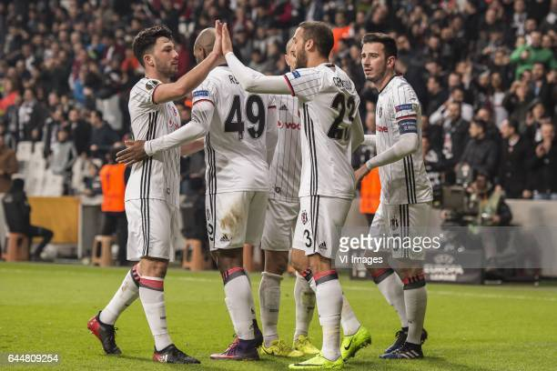 Besiktas celebrate the goal of Cenk Tosun of Besiktas JKduring the UEFA Europa League round of 16 match between Besiktas JK and Hapoel Beer Sheva on...