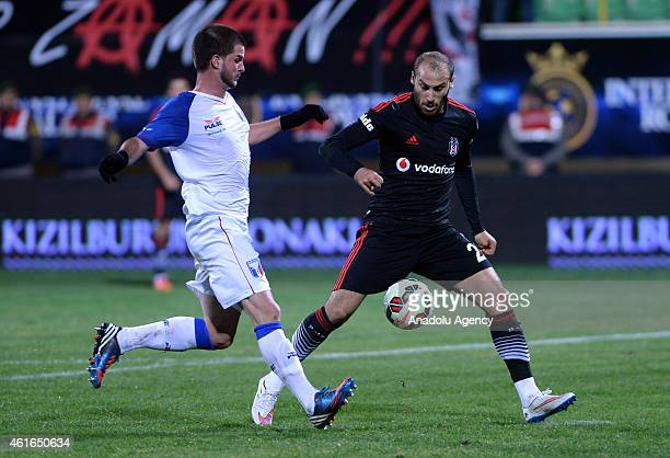 Besiktas' Cenk Tosun in action during the International Royal Cup 2015 soccer match between Besiktas and Guaratingueta at Alanya Oba stadium in...