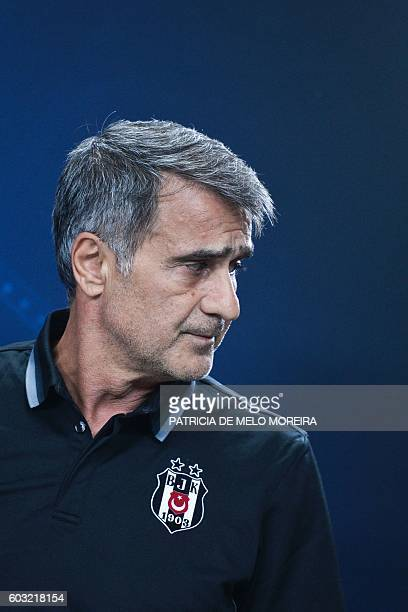 Besiktas' coach Senol Gunes attends a press conference at Luz stadium on September 12 2016 on the eve of their Champions league group B football...