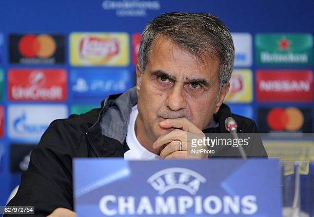 Besiktas' coach Senol Gunes attends a press conference at the stadium Olympic in Kiev Ukraine Monday December 5 2016 Held tomorrow the Champions...