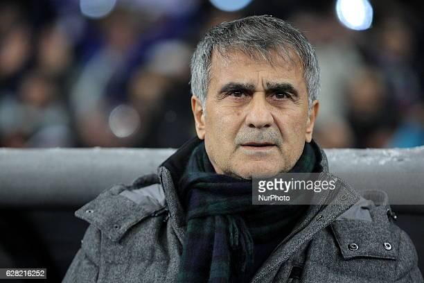 Besiktas' coach Senol Gunes waits for the start of a Champions League Group B soccer match between Dynamo Kiev and Besiktas at the Olympiyskiy...